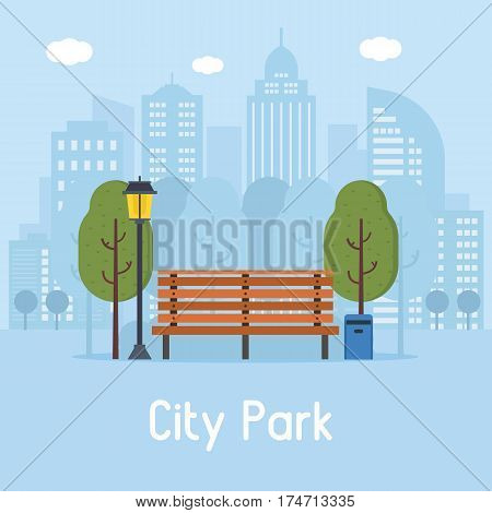 Summer city park landscape with wooden bench, street lamp, trashcan and green trees on modern city background. Pubic park banner in flat design.