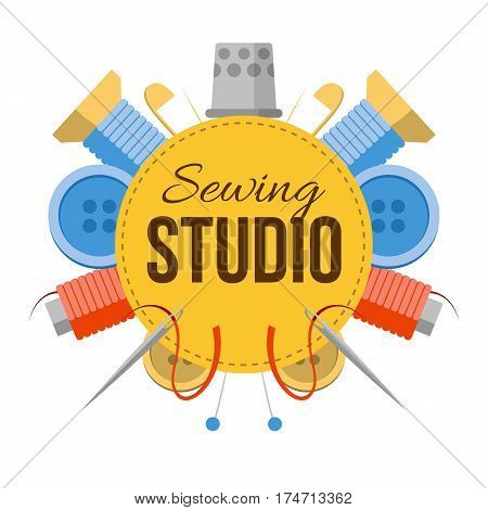 Sewing studio sign with tailors stuff. Tools for handmade at the sides: needles pins thread buttons. Simple style vector atelier logo.
