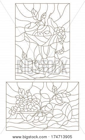 Set contour illustrations of stained glass with fruit still lifes