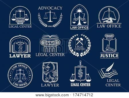 Law firm, legal center and lawyer office badge set. Justice heraldic symbols with scales, sword, law book and judge mallet, framed by laurel wreath and shield. Advocacy, attorney services design