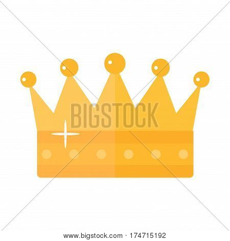 Vector illustration golden crown with red gemstone isolated on white. Fashion icon and success authority sign. Gold majestic decoration and kingdom jewelry.