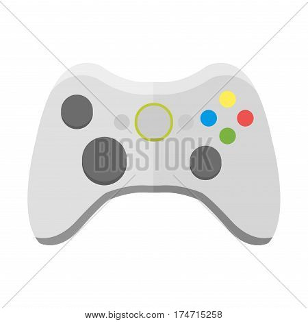 Game console joystick computer wireless device vector illustration. Game console joystick electronic joy control video game technology isolated on white background.