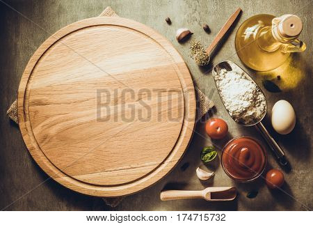 pizza cutting board at table background
