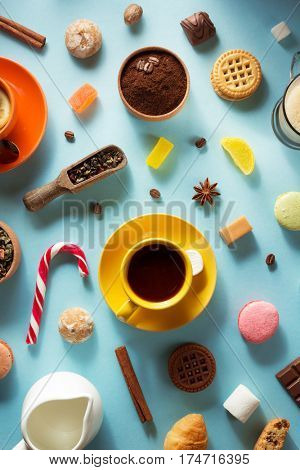 cup of coffee at blue surface background