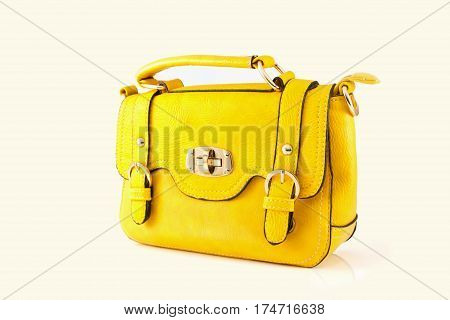 Yellow bag isolate on white background, woman bag