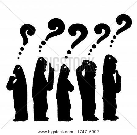 Black-and-white silhouette of the crowd of five bald men in thinking with question marks over their heads  on a white background
