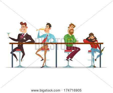 Vector cartoon illustration of a men sitting at the bar table at various stages of drunkenness. stage of alcoholism