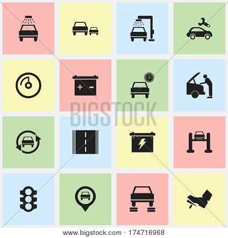 Set Of 16 Editable Car Icons. Includes Symbols Such As Race, Stoplight, Pointer And More. Can Be Used For Web, Mobile, UI And Infographic Design.