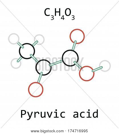 molecule Pyruvic acid C3H4O3 isolated on white