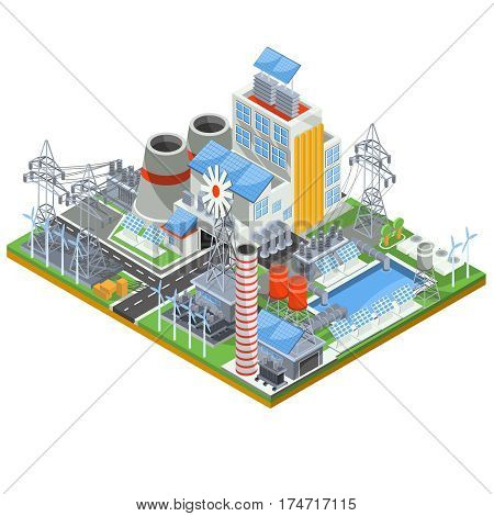Isometric vector illustration of a thermal thermal power plant running on alternative sources of energy. The concept of eco-friendly green energy by using wind and solar energy