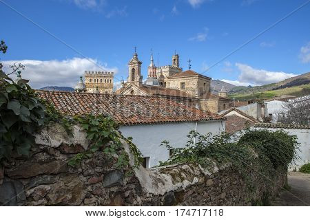 View of historic building roofs of Guadalupe Town Caceres Extremadura Spain