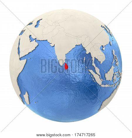 Sri Lanka In Red On Full Globe Isolated On White