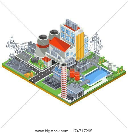 Isometric vector illustration of a thermal power plant for the production of electrical energy with the flue pipes, industrial buildings and power lines