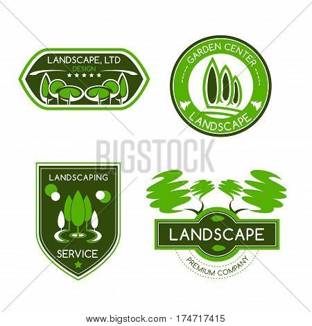 Landscape design label set. Landscaping and gardening services badges with green trees and leaves. Landscape architecture, garden center and landscape design studio symbols