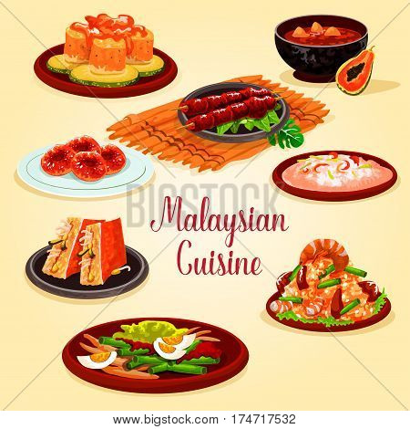 Malaysian cuisine cartoon poster. Grilled chicken, fried rice with bean and prawn, seafood risotto, vegetable salad with egg, stuffed tofu with cucumber, papaya shrimp soup, fish salad, potato donut