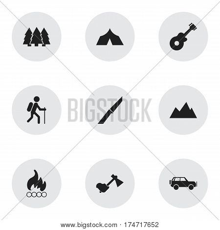 Set Of 9 Editable Camping Icons. Includes Symbols Such As Blaze, Ax, Knife And More. Can Be Used For Web, Mobile, UI And Infographic Design.