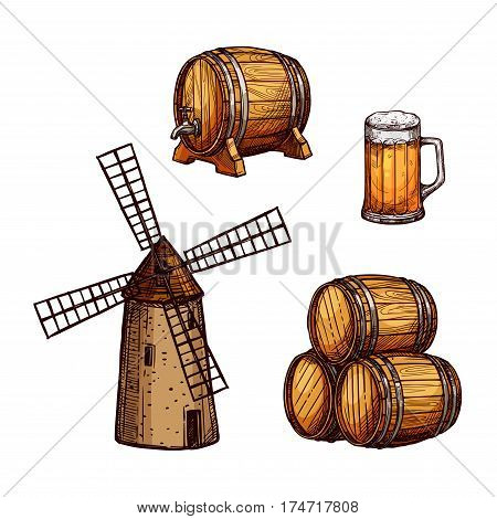 Beer drink isolated sketch set. Beer mug or tankard, wooden barrel with tap, stack of beer kegs and old windmill. Pub and bar menu, Oktoberfest festival and brewing label design