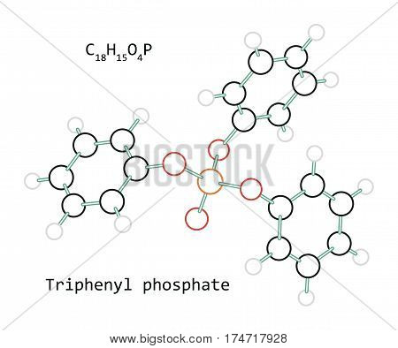 molecule Triphenyl phosphate C18H15O4P isolated on white