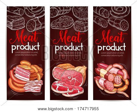 Meat menu banner on chalkboard. Beef and pork sausage, ham, salami, bacon, frankfurter, pepperoni and bologna chalk sketches. Appetizing meat products for butcher shop, meat store design