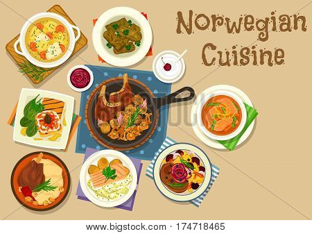 Norwegian cuisine dinner icon of fish cream soup, trout with cucumber salad, salmon bean soup, lamb steak, toast with trout and tartar, lamb ribs with potato and mushroom, lamb shank, meat dolma