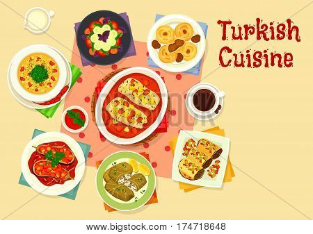 Turkish cuisine tasty lunch icon with baked fish in tomato sauce, stuffed eggplant with vegetable stew, lentil bulgur soup, dolma, eggplant roll with meat, vegetable salad, cake with date