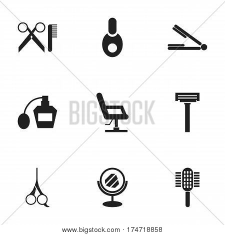 Set Of 9 Editable Tonsorial Artist Icons. Includes Symbols Such As Vial, Shaver, Peeper And More. Can Be Used For Web, Mobile, UI And Infographic Design.