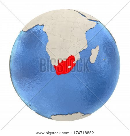 South Africa In Red On Full Globe Isolated On White