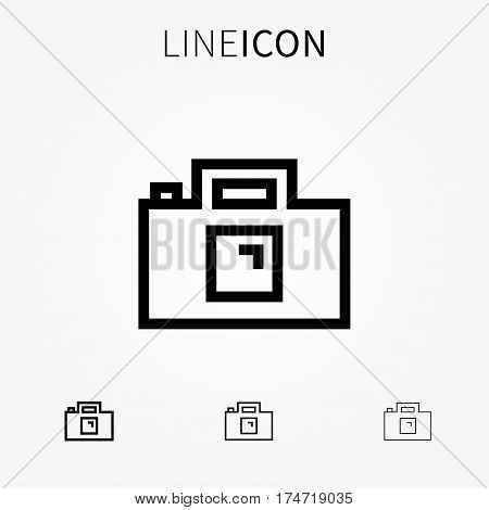 Photo camera vector icon. Digital camera for images pictures and video creative concept. Line art photo cam pictogram.