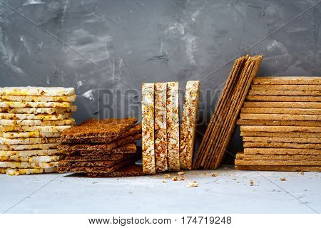 Stacks of various healthy crisp bread diet vitamin snack.