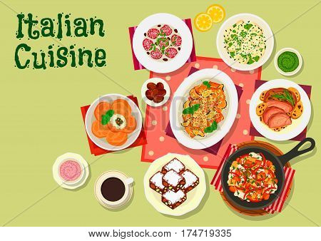 Italian cuisine lunch menu icon with tomato eggplant pasta, beef pasta with olives, potato dumplings with cheese, vegetables and mushroom sauce, baked lamb, rice ball, dried fruit and nut cake