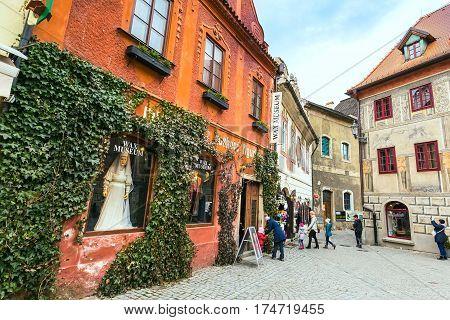 Cesky Krumlov, Czech Republic - February 26, 2017: Famous landmark, historic center street view with wax museum