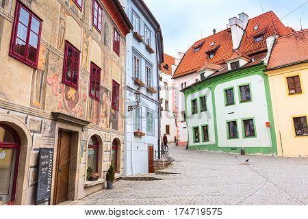 Cesky Krumlov, Czech Republic - February 26, 2017: Famous landmark, historic center street view of UNESCO World Heritage Site town