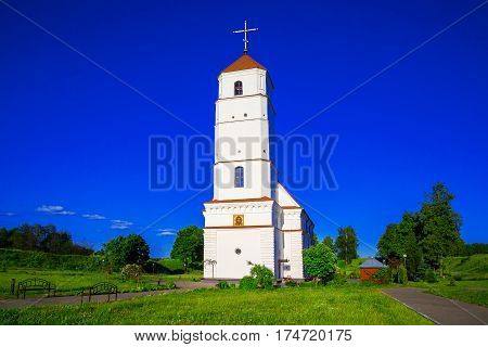Belarus the Holy-Transfiguration Orthodox Church the former Calvinist cathedral against the blue sky in the city of Zaslavl