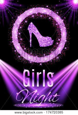 Night party design. Girls night. Vector illustration