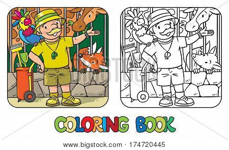Coloring book of funny zoo keeper. A man dressed in panama hat, t-shirt and shorts with parrot and the service cart. Profession series. Childrens vector illustration.