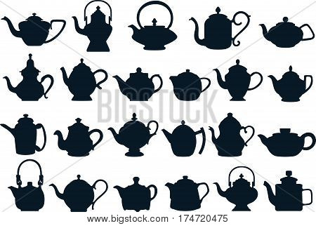 Vector collection silhouette illustration of tea kettles on a white background.