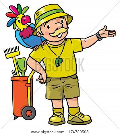 Funny zoo keeper or zoologist. A man dressed in panama hat, t-shirt and shorts with parrot and the service cart. Profession ABC series. Childrens vector illustration.
