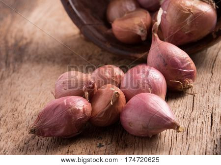 small onion on the wooden background ,