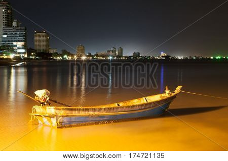 night beach and boat at Huahin Thailand
