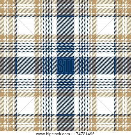 Blue beige white checkered plaid seamless pattern. Vector illustration.