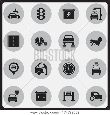 Set Of 16 Editable Vehicle Icons. Includes Symbols Such As Automotive Fix, Treadle, Highway And More. Can Be Used For Web, Mobile, UI And Infographic Design.