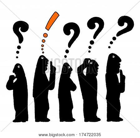 Silhouette of the crowd of five bald men in thinking with question marks and exclamation point over their heads isolated on white background