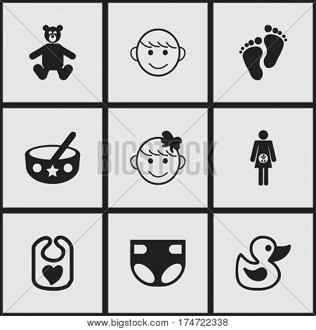Set Of 9 Editable Kid Icons. Includes Symbols Such As Pregnancy, Pinafore, Nappy And More. Can Be Used For Web, Mobile, UI And Infographic Design.