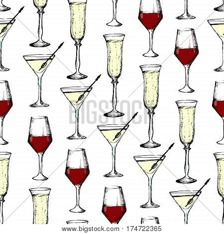 Drinks - Seamless Pattern With Champagne, Wine And Vermout