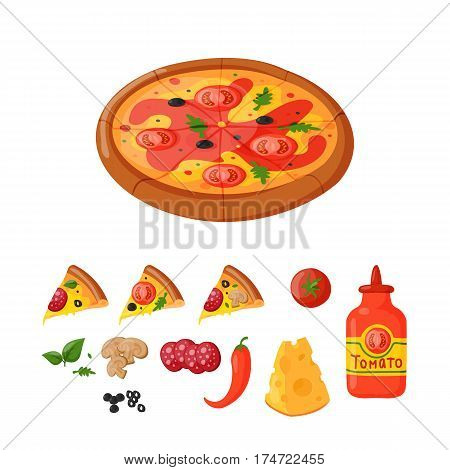 Hot fresh pizza ingredients icons vector illustration. Food and drink element typographic design label or sticker bakery. Cooking cafe menu symbol with traditional lunch delicious.