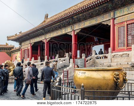 Beijing, China - Oct 30, 2016: Visitors at the Gate of Heavenly Purity, or Celestial Purity (Qianqingmen). Forbidden City (Gu Gong, Palace Museum).