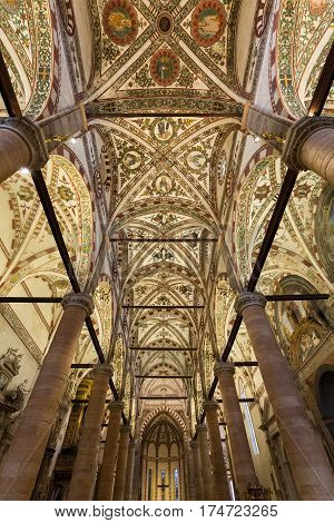 VERONA ITALY - MAY 1 2016 - ceiling of Sant'Anastasia Church in Verona Italy. Sant'Anastasia is a church of the Dominican Order in Verona it was built in 1280 -1400