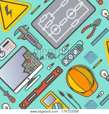 Electricity engineering banner vector illustration. Electrician workplace, construction and management, repair and maintenance. Safety helmet, multimeter, electronic circuit, spirit level, power strip