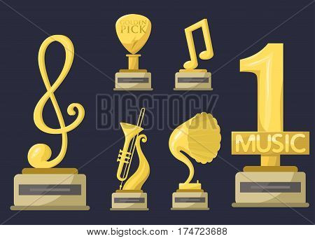 Gold rock star trophy music notes best entertainment win achievement clef and sound shiny golden yellow melody success prize pedestal victory vector illustration. Champion competition honor sign.