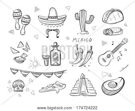 Doodle mexican food, tequila, red hot chili peppers, sombrero, guitar, tacos hand drawn vector icons. Mexican tequila and food, illustration of sketch mexican pepper and guitar